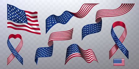 Set of photorealistic ribbons, flags of of United States of America