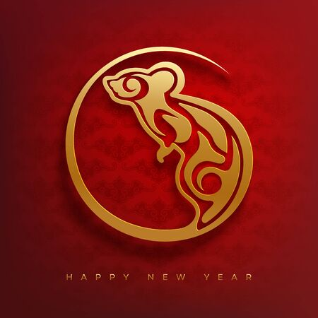 Chinese Zodiac Sign Year of Rat card. Red and gold papercut style rat