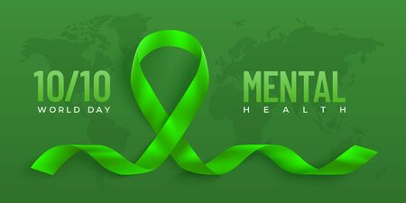 World Mental day vector banner with green ribbon