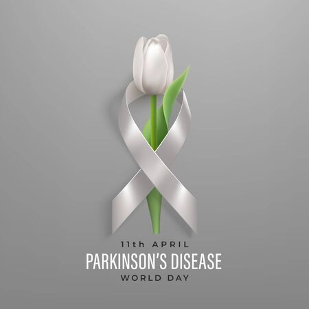 World Parkinsons disease day banner with ribbon and flower