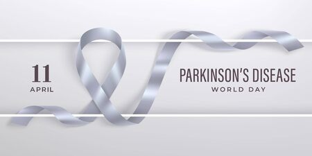 World Parkinsons disease day banner with ribbon and frame