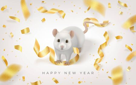 Happy New Year horizontal card with white rat and golden confetti fireworks Ilustracja