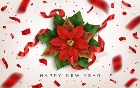 Happy New Year vector horizontal banner with Christmas flower and red confetti fireworks