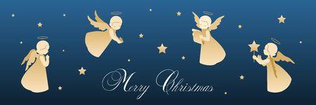 Tarjeta de feliz navidad con ángeles y estrellas