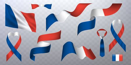Set of photorealistic ribbons, flags of France