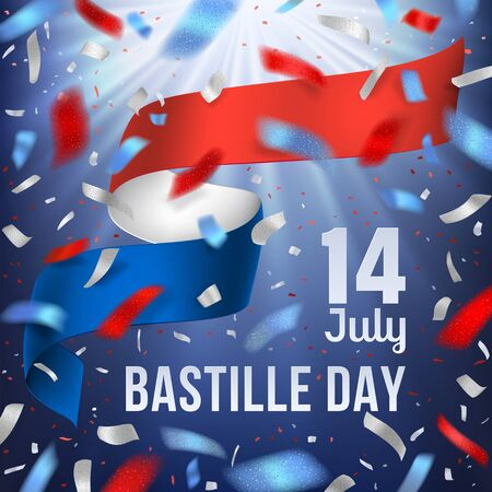 Bastille day banner with national France flag and confetti