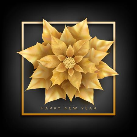 Happy New Year banner with frame and Christmas flower Ilustracja