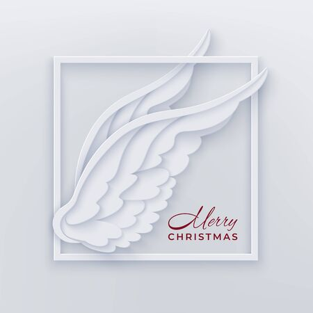 Merry Christmas card with square frame and white angel wings on a light background in the style of layered paper. Merry Christmas congratulation text. Vector illustration.