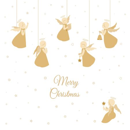 Merry Christmas card. Little angels with stars, bell, scroll isolated on a white background with snowflakes. Holiday vector stock design. Stock Illustratie