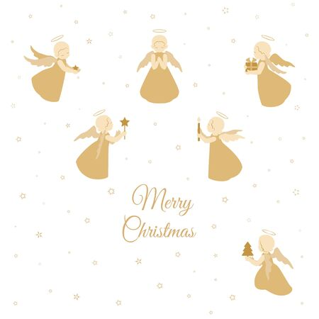 Merry Christmas card. Little angels with stars, gifts, scroll isolated on a white background with snowflakes. Holiday vector stock design.