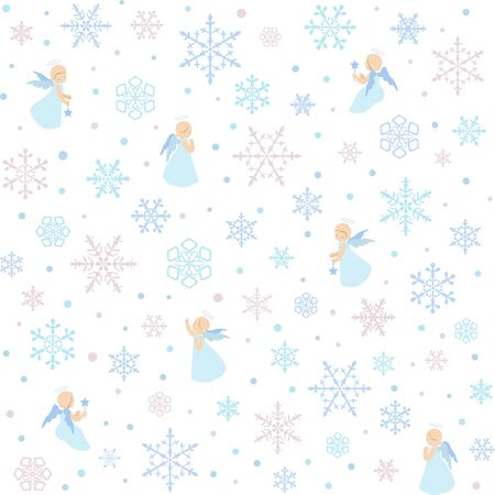 Merry Christmas seamless pattern Little angels and Christmas plant holly Dense branches isolated on a white background with snowflakes. Holiday vector stock pattern. Ilustracja