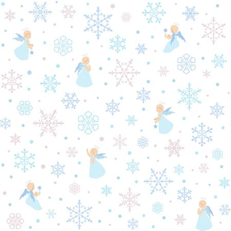 Merry Christmas seamless pattern with angels