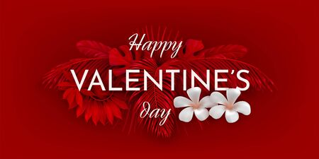 Valentine s day horizontal card with flowers