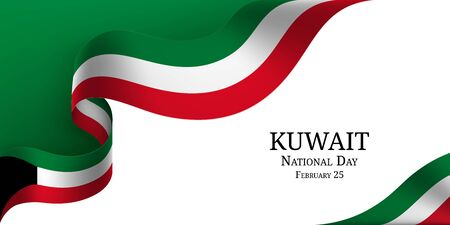 Kuwait National Day banner with ribbon