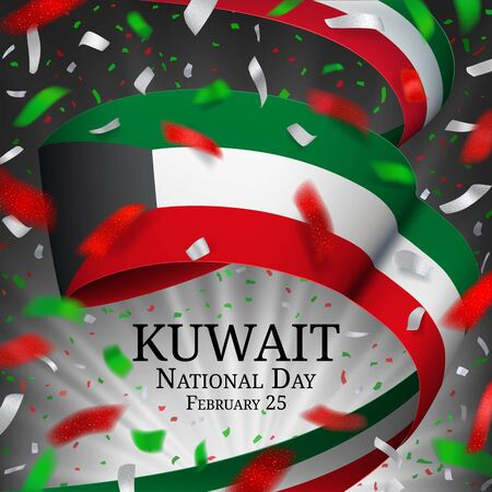 Kuwait National day vector illustration. Red, white, green design with waving ribbon in national flag colors, celebratory confetti on a dark background with blurred rays. Template for banner, poster. Ilustracja