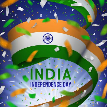India Independence day vector illustration. Orange, white, green design with waving ribbon in national flag colors, celebratory confetti on a dark background with blurred rays.  Illustration