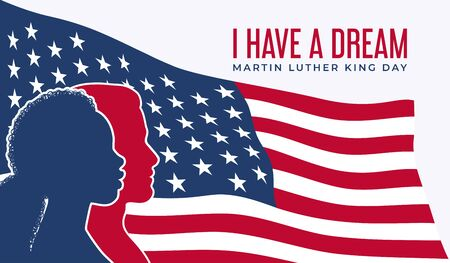Martin Luther King Day vector illustration, I have a dream quote with USA flag. Silhouettes of a white man and black woman in front of the developing flag of the United States on a white background.