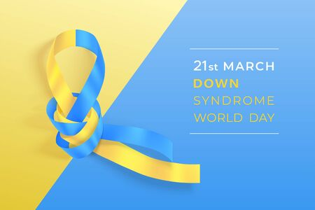 World Down syndrome day horizontal banner with blue and yellow ribbon