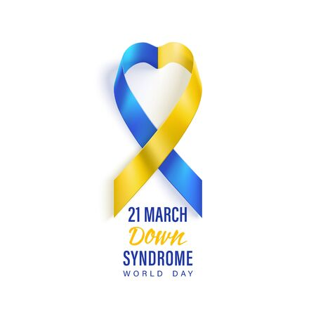 Down syndrome world day vector poster with blue and yellow photorealistic ribbon. Social poster 21 March is World Down Syndrome Day. Awareness ribbon. Ilustracja