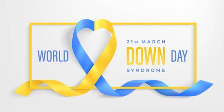 World Down syndrome Day horizontal poster. Photo realistic blue, yellow ribbon and frame on light background. Vector Social poster 21 March is World Down Syndrome Day. Awareness ribbon.