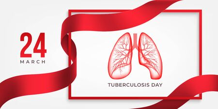 World Tuberculosis Day horizontal poster with lungs,  red ribbon and frame on light background. TB awareness sign. Medical solidarity day concept. Vector illustration.