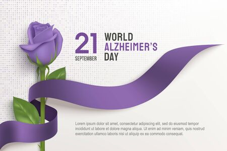 Alzheimers world day horizontal poster with ribbon and rose on a light background. 21 September purple ribbon day. Vector illustration. Alzheimer disease awareness template with place for text.