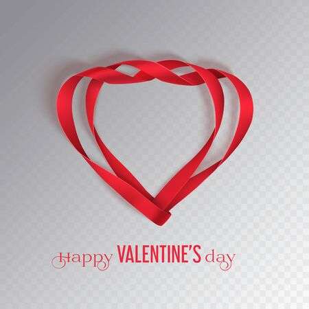 Valentines Day red ribbon in two heart shape on a transparent background. Greeting card with photo-realistic bow with shadow. Vector illustration. Ilustracja
