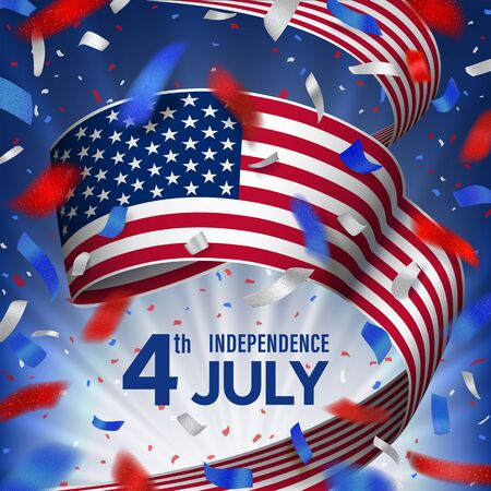 American independence day celebration card with blue, red, white flying confetti and national flag of USA on a blue sky background with blurred rays. 4th July template design for card, banner, poster.