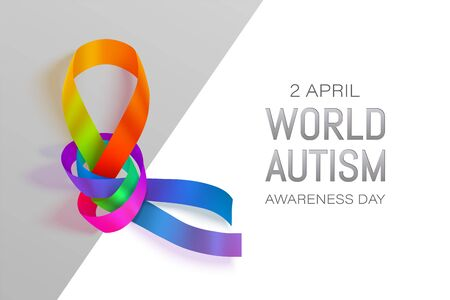 Autism awareness world day vector illustration. Rainbow ribbon over white and gray background with shadow. April 2 day for children with brain development disability banner.