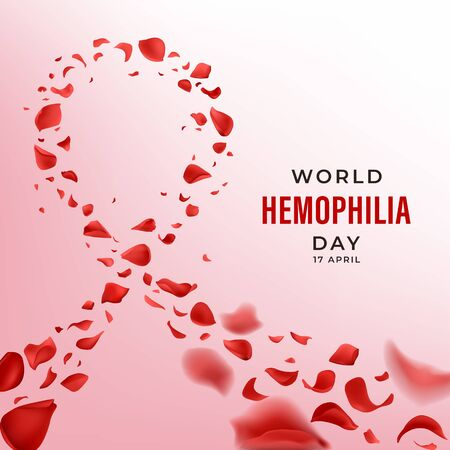 Hemophilia World Day vector banner with red rose petals