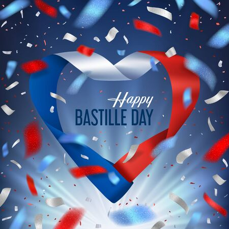 Bastille day banner with ribbon and salute of confetti