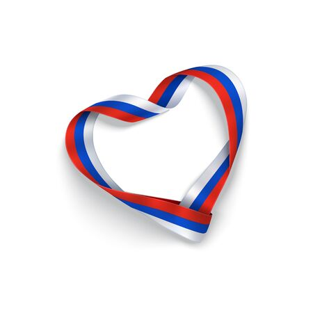 Russian Federation flag ribbon in shape heart isolated on a white background. Vector stock photorealistic attribute with blue, red, white colors  for holiday design.