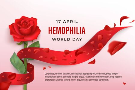 Hemophilia World Day vector banner with red rose