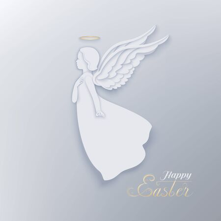 Happy Easter card with angel, golden nimbus and wings with shadow.  Decorative inscription of congratulation text. A beautiful angel in paper cur style  on a light background.