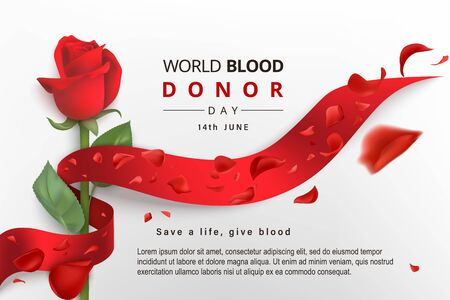 World blood donor day June 14 poster. Vector illustration of Donate blood with photorealistic red ribbon, rose, flying petals on a light background. Place for text. Save a life, give blood.