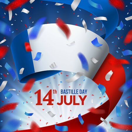 Happy France Bastille day card with confetti