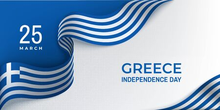 Greece independence day horizontal banner with ribbon Vettoriali