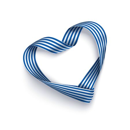 Ribbon of Greek flag in shape heart for festive design. Archivio Fotografico - 143233051