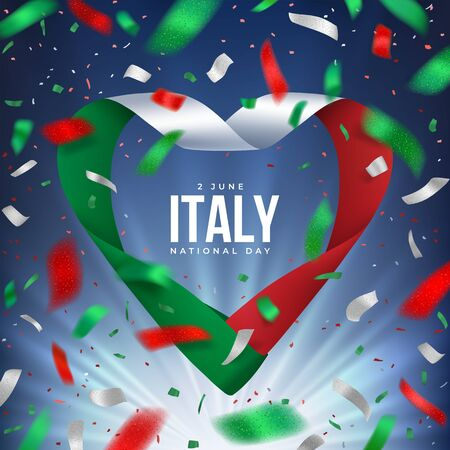 Italy Republic day congratulation banner with salute of confetti and ribbon in heart shape in colour of National flag. 2 June National day. Red, white, green design with rays on a blue sky background. Vettoriali