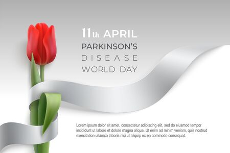 Parkinson's disease world day poster with gray photorealistic ribbon and red tulip on a light background. Silver ribbon day card witn place for text.