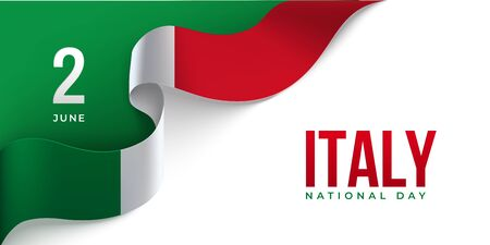 Italy Republic day horizontal banner with waving ribbon in color of National flag. 2 June Italy National day. Red, white, green design on a white background with place for congratulation text. Vettoriali