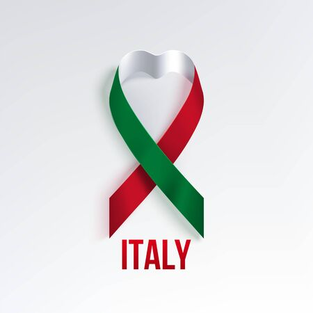 Italy festive photorealistic ribbon with shadow  in colors of national flag. 2 June Italy National day. Red, white, green design on a white background. Vettoriali