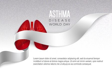 Asthma World Day poster with red lungs into white ribbon on light pixel background. Medical solidarity and awareness day concept. Vector illustration.
