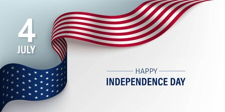Independence Day horizontal poster with flying National flag of USA on a light background. Template design for card, banner, poster. Vector illustration.