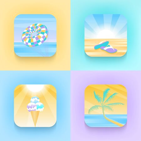 Set of square icons about summer holidays in trendy style. Palm tree, parachute, slippers, ice cream, sea, sand. Vector icons for communication, advertising, template, design. Ilustrace