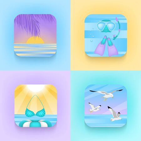 Set of square icons about summer holidays in trendy style. Palm, sunset, diving, scuba diving, swimsuit, rubber ring, flippers, seagulls. Vector icons for communication, advertising, template, design.