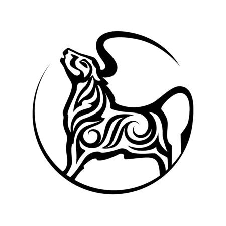 Bull isolated silhouette Chinese Zodiac Sign of 2021 Year.