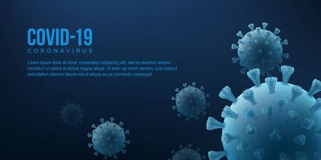 Covid 19 vector poster with virus