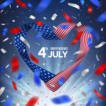 4 july United States of America day with flag ribbon in shape heart Vettoriali