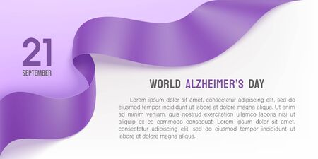 Alzheimer's world day poster with photorealistic ribbon and rose on a light background. 21 September purple ribbon day. Vector illustration. Alzheimer disease awareness template with place for text.